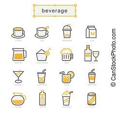 Thin line icons set, beverage