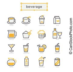 Thin line icons set, beverage