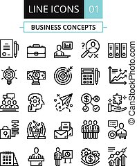 Thin line icons set. Business