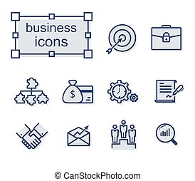 Thin line icons set, Business