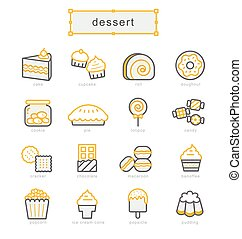 Thin line icons set, dessert