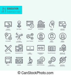 Thin line icons set - Icons for online education, video ...