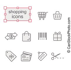 Thin line icons set, Shopping - Thin line icons set, Linear...