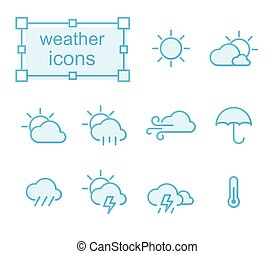 Thin line icons set, weather