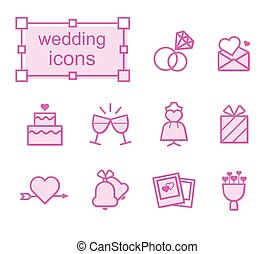 Thin line icons set, wedding