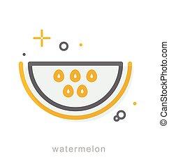 Thin line icons, Watermelon