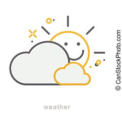 Thin line icons, Weather