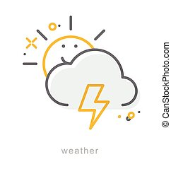 Thin line icons, Weather4
