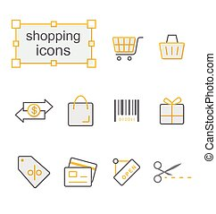 Thin line icons yellow set, Shopping - Thin line icons set,...