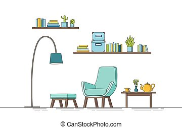 Thin line illustration of a modern living room
