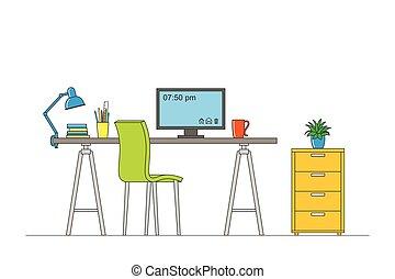 Thin line illustration of interior equipment of a workstation