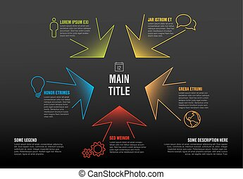 Thin line infographics template with colorful arrows