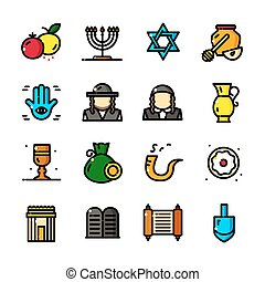 Thin line Judaism icons set, vector illustration