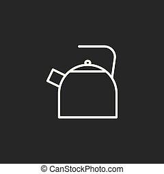 line kettle icon black on dark background