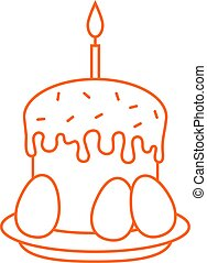 thin line kulich icon. concept of abstract yummy bun,...