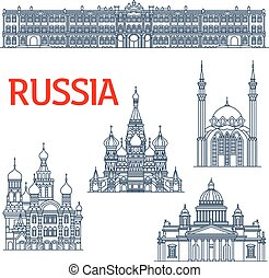 Thin line landmarks for tourism or travel in Russia. Sketch of Winter Palace and Saint Isaac's orthodox Cathedral or Isaakievskiy Sobor in Saint Petersburg, Church of the Savior on Spilled Blood and Saint Basil's or Vasily, Pokrovsky Cathedral