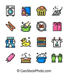 Thin line Laundry icons set, vector illustration - Thin line...