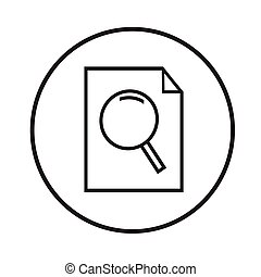 Thin line magnifier document icon Illustration design