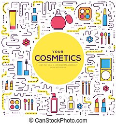 Thin line makeup tools modern illustration concept. Infographic cosmetic equipment for beauty. Icons on isolated white background. Flat vector template design for web and mobile application.