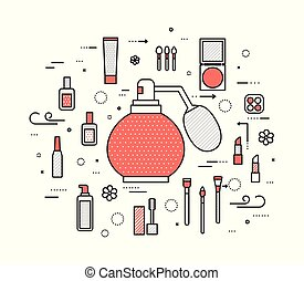 Thin line makeup tools modern illustration concept. Infographic cosmetic equipment for beauty. Icons on isolated white background. Flat vector template design for web and mobile application