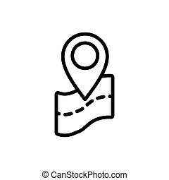 thin line map, pin point, location icon