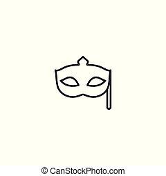 line masquerade mask icon on white background