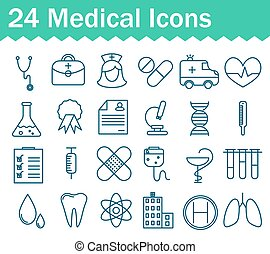 Thin line medical and health icons set. Outline icon collection.