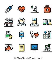 Thin line Medical icons set, vector illustration