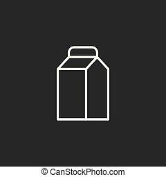 line milk icon black on dark background