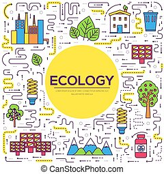 Thin line natural resources modern illustration concept. Infographic way from ecology to clean energy. Icons on isolated white background. Flat vector template design for web and mobile application.