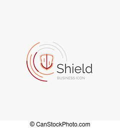 Thin line neat design logo, shield icon - Thin line neat...