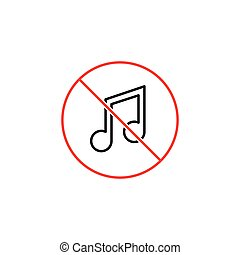no music sign on white background