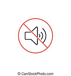 no sound, silence sign on white background