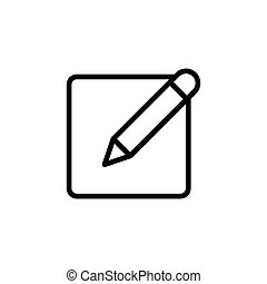 thin line notepad with pen icon