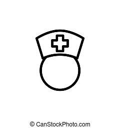 line nurse icon on white background