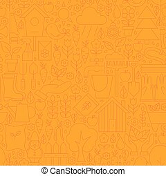 Thin Line Orange Spring and Garden Seamless Pattern
