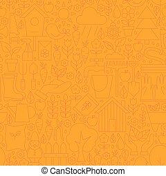 Thin Line Orange Spring and Garden Seamless Pattern