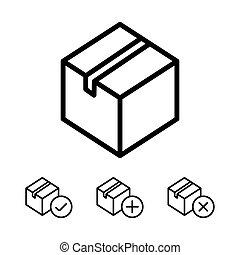 line package, box icons on white background