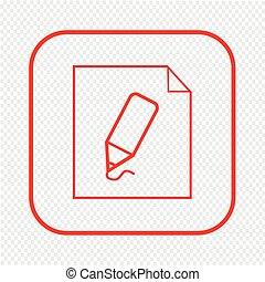 Thin line pencil document icon Illustration design