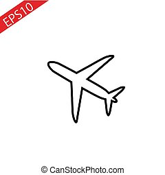 thin line plane icon on white background