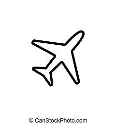 thin line plane icon