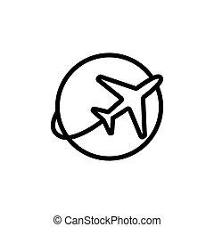 line plane shipping icon on white background