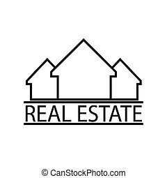Thin line real estate houses icon