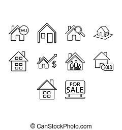 Thin line real estate icon set