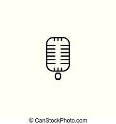 line retro microphone icon on white background