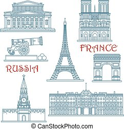 Travel landmarks of Russia and France with Eiffel Tower and Notre Dame Cathedral, Red Square and Kremlin wall with clock tower, Arc de Triumph, Big Theater, Winter Palace and Big Cannon. Thin line style building icons
