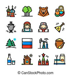 Thin line Russia icons set, vector illustration - Thin line...