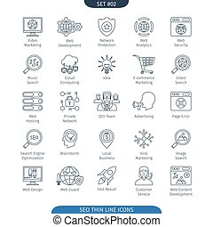 Thin Line SEO 02 - Thin Line Icons Set Of Internet And...