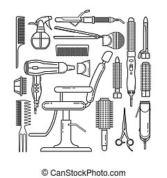 Thin line set of hairdresser objects isolated on white background. Hair salon equipment and tools logo icons, hairdryer, comb, scissors, hairclipper, curling, hair straightener for barbershop