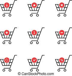 thin line set of shopping cart icon on white background